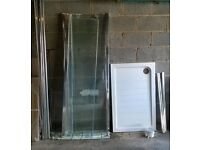 1100 x 700 Sliding Door Shower Enclosure with Side Panel Tray and Waste