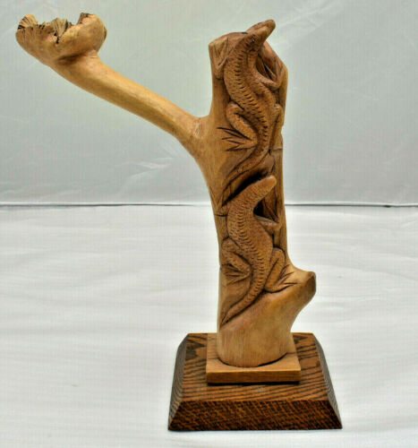 Wood Hand Carved Lizard Sculpture 4 Lizards with Oak Base