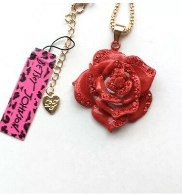 Betsey Johnson Necklace ROSE RED CLASSY Gold Crystals Enamel  - Gold Enameled Red Rose