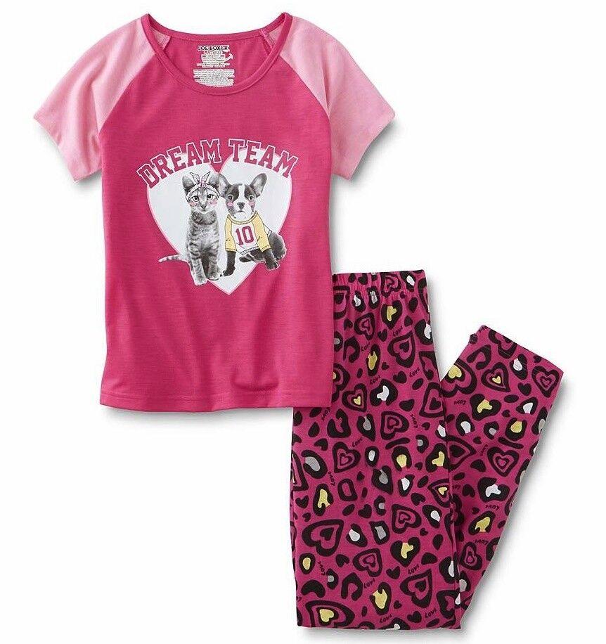 Girls Cat/Dog Pajamas Size 10-12 Large Pink Top Leopard Pant