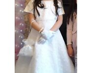 Beauitful sparkly Communion Dress with bolero (age 7 - 8)