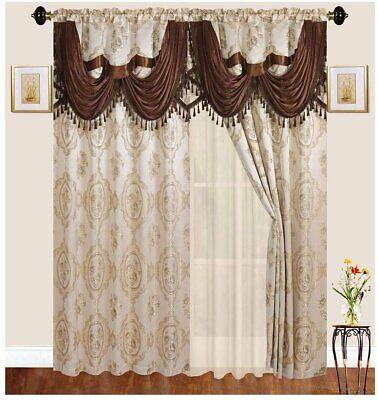 jacquard curtain drape set 2 panels attached