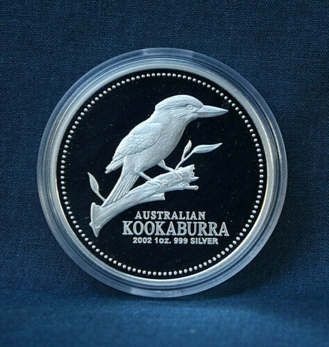 2002 AUSTRALIA KOOKABURRA 1 OZ. PROOF - WITH CASE AND COA