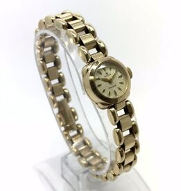 ROLEX 9K SOLID GOLD VINTAGE LADIES MANUAL WIND COCKTAIL BRACELET DRESS WATCH