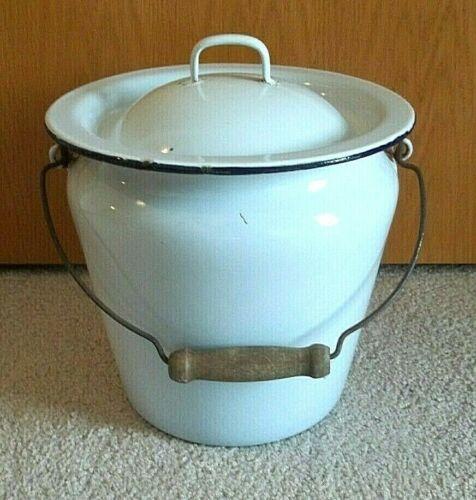 Vintage White Enamel Ware Chamber Pot w/Lid Bean Bucket Slop Wood Handle