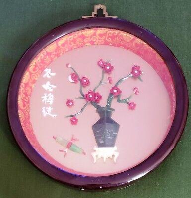 "Vintage 6"" Asian Art Round Shadowbox Flowers in Winter #219-2"