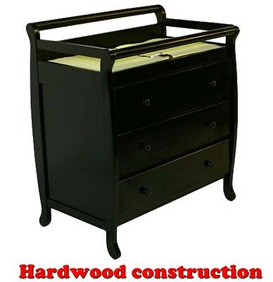 CHANGING TABLE 3-DRAWER STORAGE BLACK HARDWOOD BABY DRESSER NURSERY FURNITURE  ()