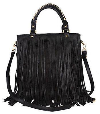 Hot Women Faux Leather Punk Tassel Fringe Handbag Tote Purse Black Shoulder Bag