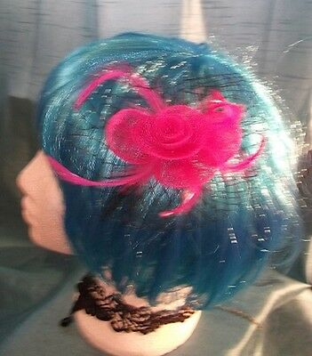 Burlesque Halloween-party (STEAMPUNK/BURLESQUE PINK ROSE Fascinator-wedding/prom/halloween/party )
