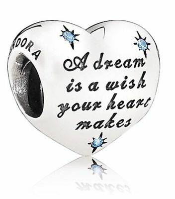 New Genuine Pandora Silver Charm Disney Cinderella's Dream Blue Bead -791593CFL