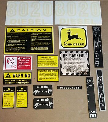 John Deere 3020 Diesel Tractor Hood Safety Decal Set Kit