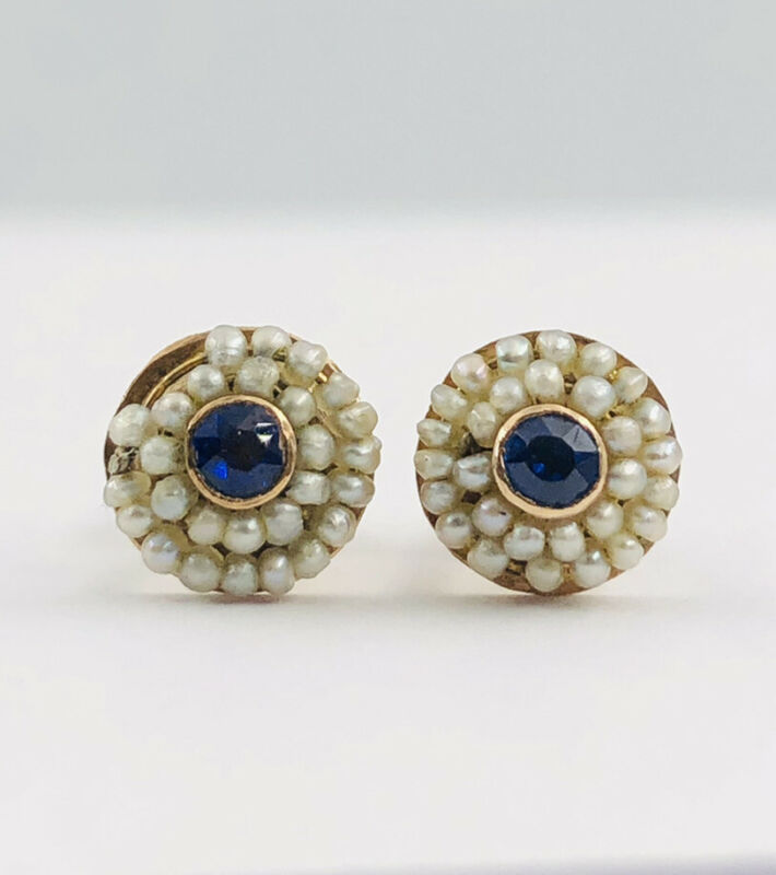 Victorian 14k Yellow Gold Rose Cut Sapphire & Seed Pearl Screw Back Earrings