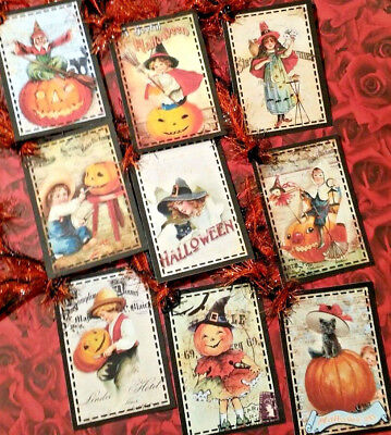 9 Joyful Halloween~Vintage~Gift Hang Tags~Scrapbooking~Card Craft Making - Make Halloween Gift Tags
