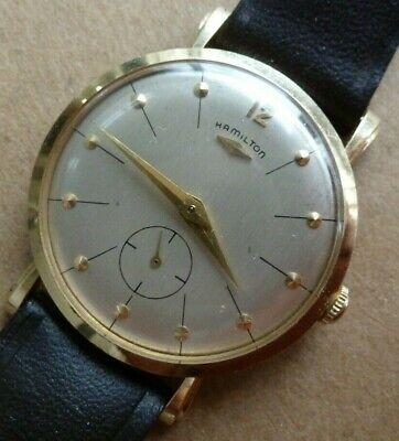 Scarce Vintage Hamilton 14k Gold Mechanical Wristwatch - Beautiful Condition !