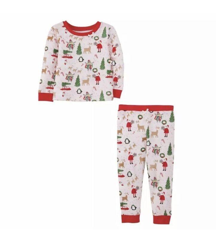 Mud Pie Kids Classic Christmas Santa Reindeer Print Pink Girls 2 Pc Pajamas