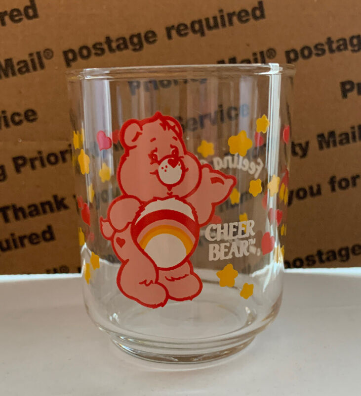 Care Bear Glass Cup Set Of 4 Vintage 1986 Set Cheer Bear Cleveland Inc UNUSED !!