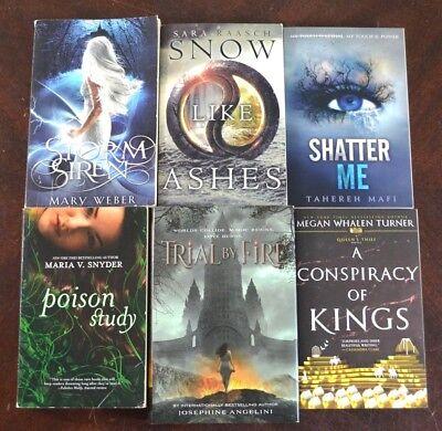 Lot 6 Ya Teen Nyt Bestseller Fantasy Fiction Shatter Me Poison Study Fire J19