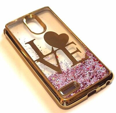 Pink Skin Case - For LG Stylo 3 GOLD LOVE Pink Glitter Stars Liquid Water Sparkle Skin Case Cover