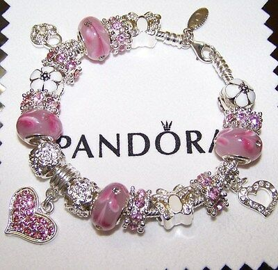 Authentic Pandora Sterling Silver Bracelet Pink Heart Flowers European Charms