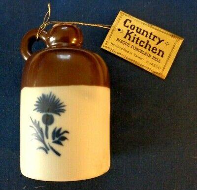 Country Kitchen Bisque Porcelain Bell * Cider Jug w/ Cork * Jasco * Taiwan