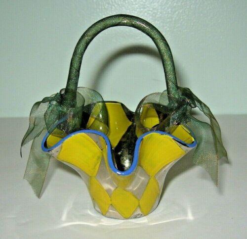 MacKenzie-Childs Small Glass Hariequin Hand Painted Basket 1991