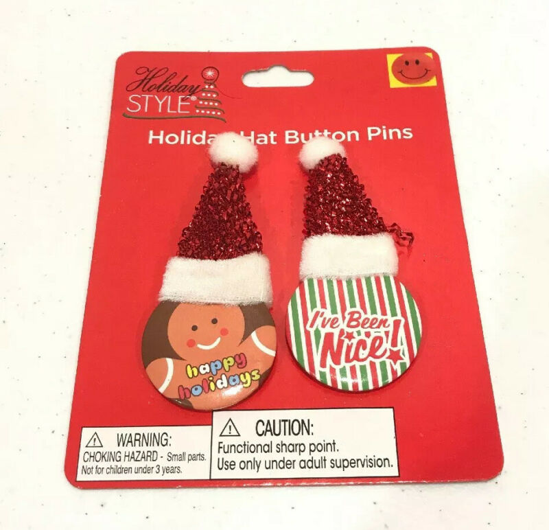 Christmas Santa Claus Holiday Hat Button Pins By Holiday Style 2 count