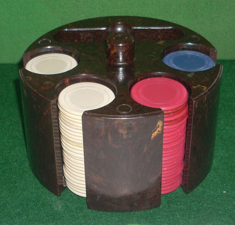 Vintage 100 Poker Chip Set in Marbleized Circular Rack