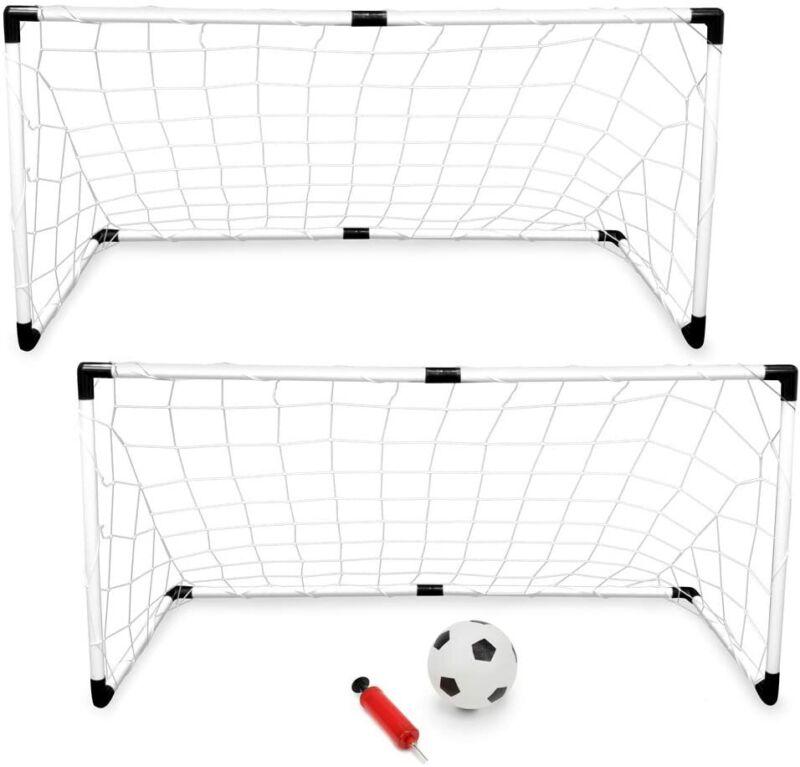 Kids Soccer Goals w/ Ball & Pump for Backyard Play & Travel (2-Pack)