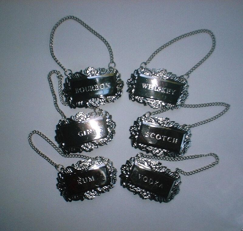 6 Silver Fancy Floral Liquor Bottle Decanter Tags Labels Set Gift Boxed