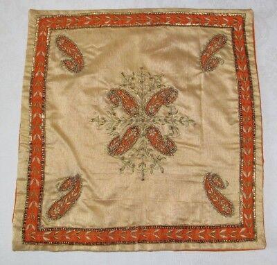 Kissenbezug Indische Baumwolle Stickerei Kissen orange/gold 40 x 40 cm  - Gold Stickerei Kissenbezug