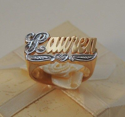 Name Ring Personalized 10k Gold  Any Name Or Number 10k Real Gold   Made In USA 10k Personalized Name Ring
