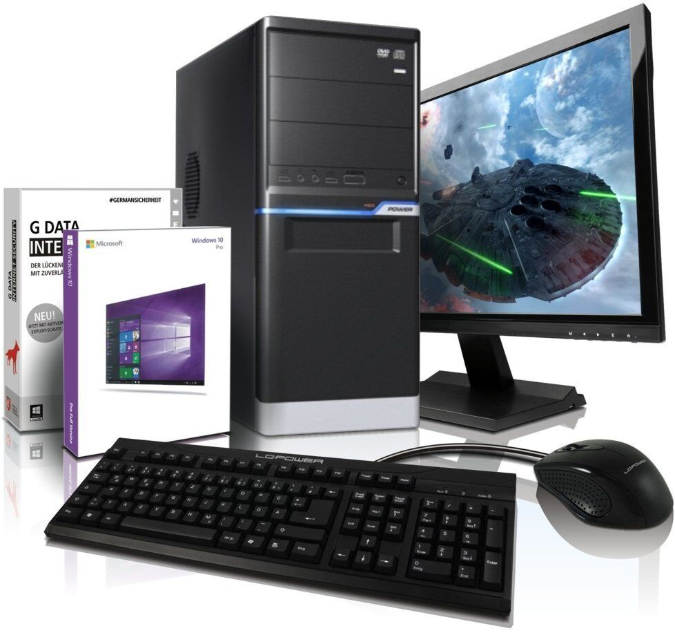 PC komplett Set mit Monitor TFT 24 Zoll Computer Rechner AMD A10 4655 4 x 2,8GHz