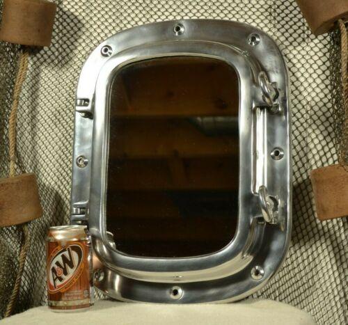 "Aluminum Porthole Mirror Rectangular 12 x 17"""