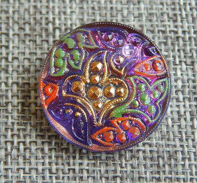12 Vintage lavender Czech glass buttons with self shank