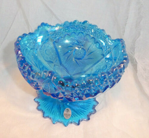 Fenton Carnival Glass Compote Whirling Star Hobstar Pinwheel Blue Iridescent
