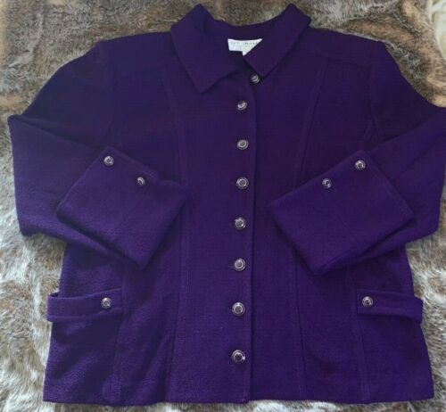 Vtg  St. John Collection  Purple Knit Button Up Blazer Jacket Coat EUC - Size 16