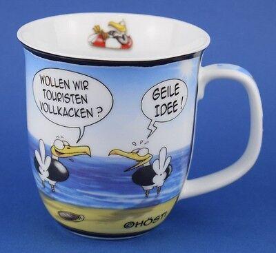Hösti Kaffeebecher Touristen vollkacken Geile Idee Möwe Strand Becher Cartoon