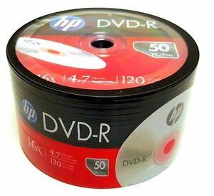 50 HP Blank DVD-R DVDR Recordable Logo Branded 16X 4.7GB Media Disc