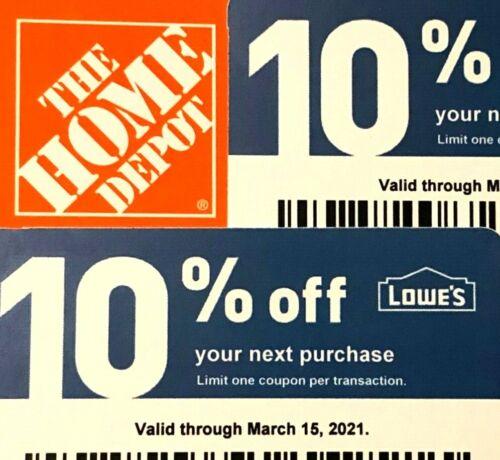 2 10% Off Home Depot Vouchers Exp Mar 15, 2021 Menards Lowes Original Fast Ship