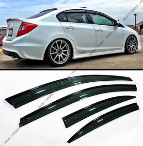 WAVY STYLE SMOKE BLK TRIM CLIP ON WINDOW VISOR SHADE FOR 2012-15 HONDA CIVIC 4D