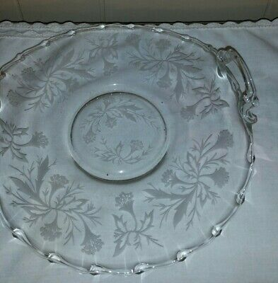 Curved Scalloped Edge Plate With Handles Embossed Flowers Vintage Bon Bon Dish