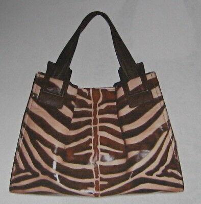 Zebra Animal Print Tote - ROGER VIVIER $2450 ZEBRA ANIMAL PRINT CALFSKIN LEATHER TOTE BAG