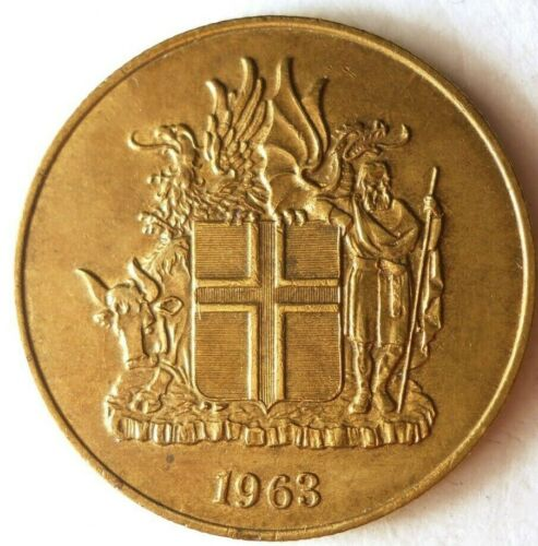 1963 ICELAND 2 KRONUR - Excellent Coin - FREE SHIPPING - Iceland Bin A