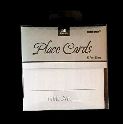 Table Place Cards - 50 Count White & Silver Amscan Wedding Anniversay Party