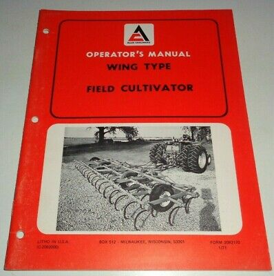 Allis Chalmers Wing Type Field Cultivator Operators Owners Manual Ac Original