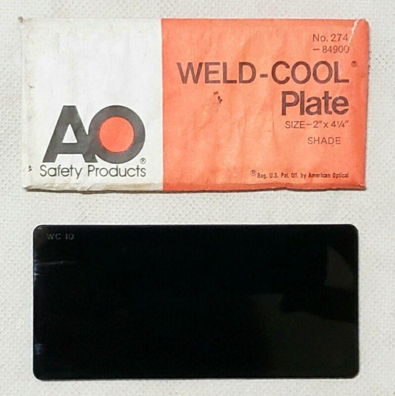 "American Optical Weld Cool No. 274 Shade 10 Blue Welding Plate Lens 2"" x 4 1/4"""