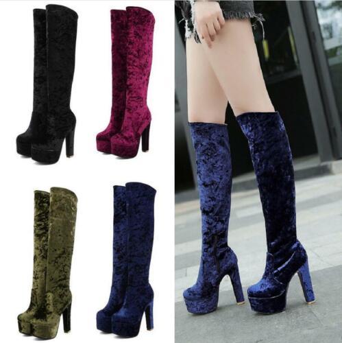 Womens HIgh Block Heel Side Zip Platform Evening New Knee High Boots Shoes 34-48