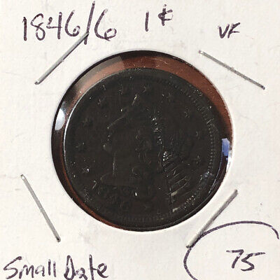 1846 Newcomb Very Fine VF Small Date Braided Hair Copper Large Cent Coin 1c