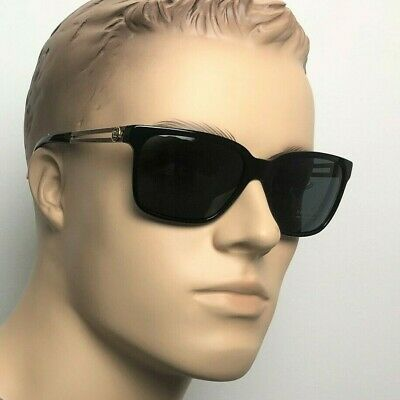 VERSACE MEDUSA Men Women Rectangle Sunglasses BLACK GOLD GREY 4307 GB1 87