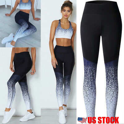 Us Womens Sports Yoga Workout Gym Fitness Leggings Pants Athletic Clothes
